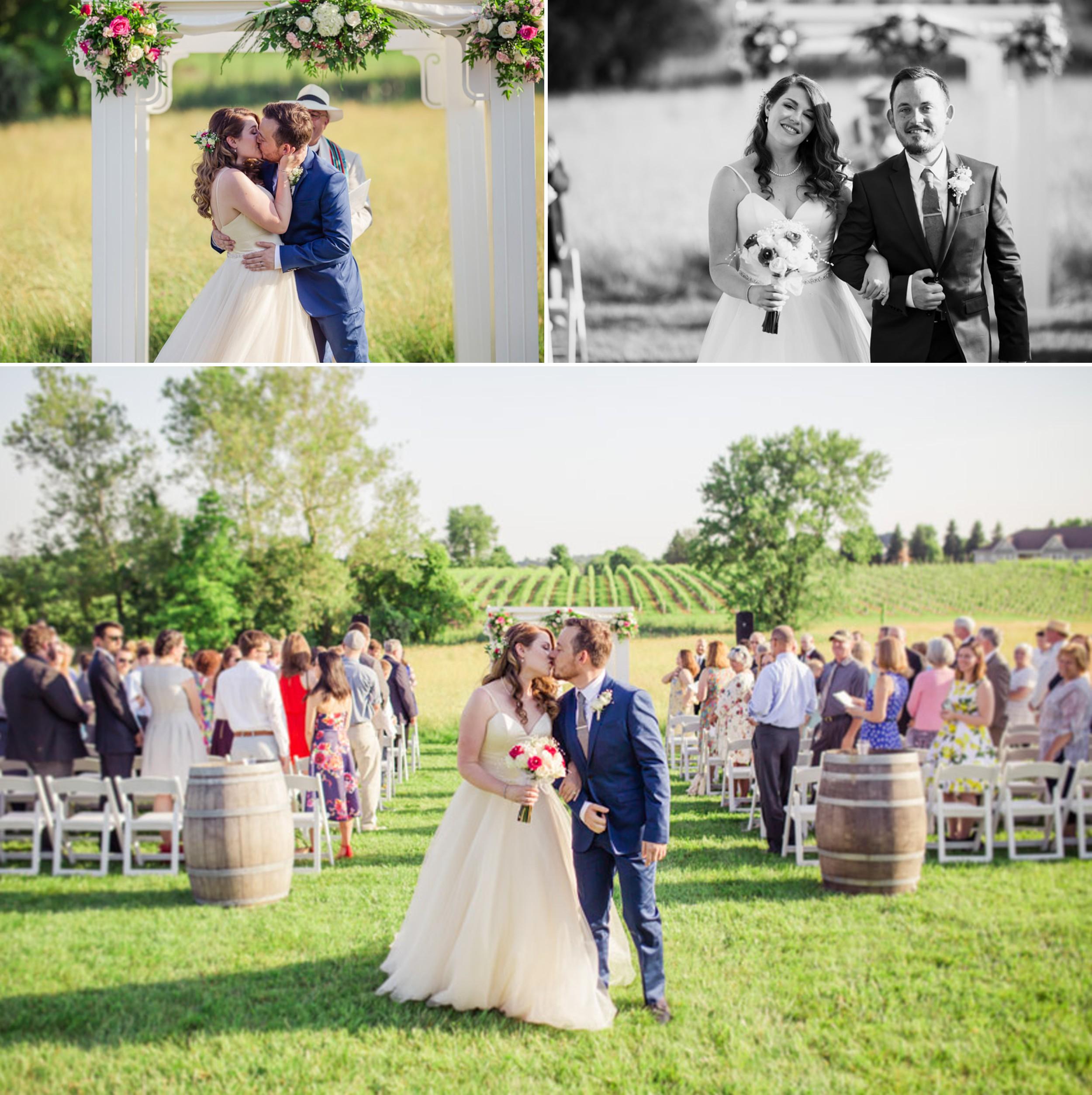 Winery Wedding Ceremony First Kiss