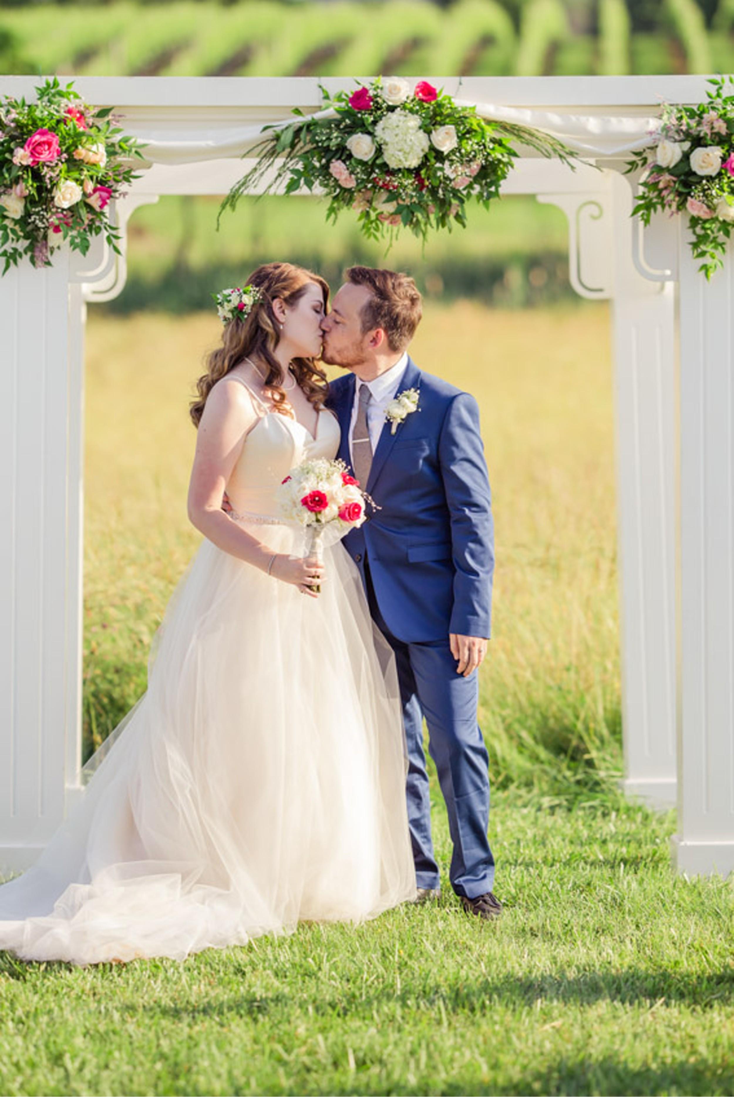 Winery Wedding Kiss