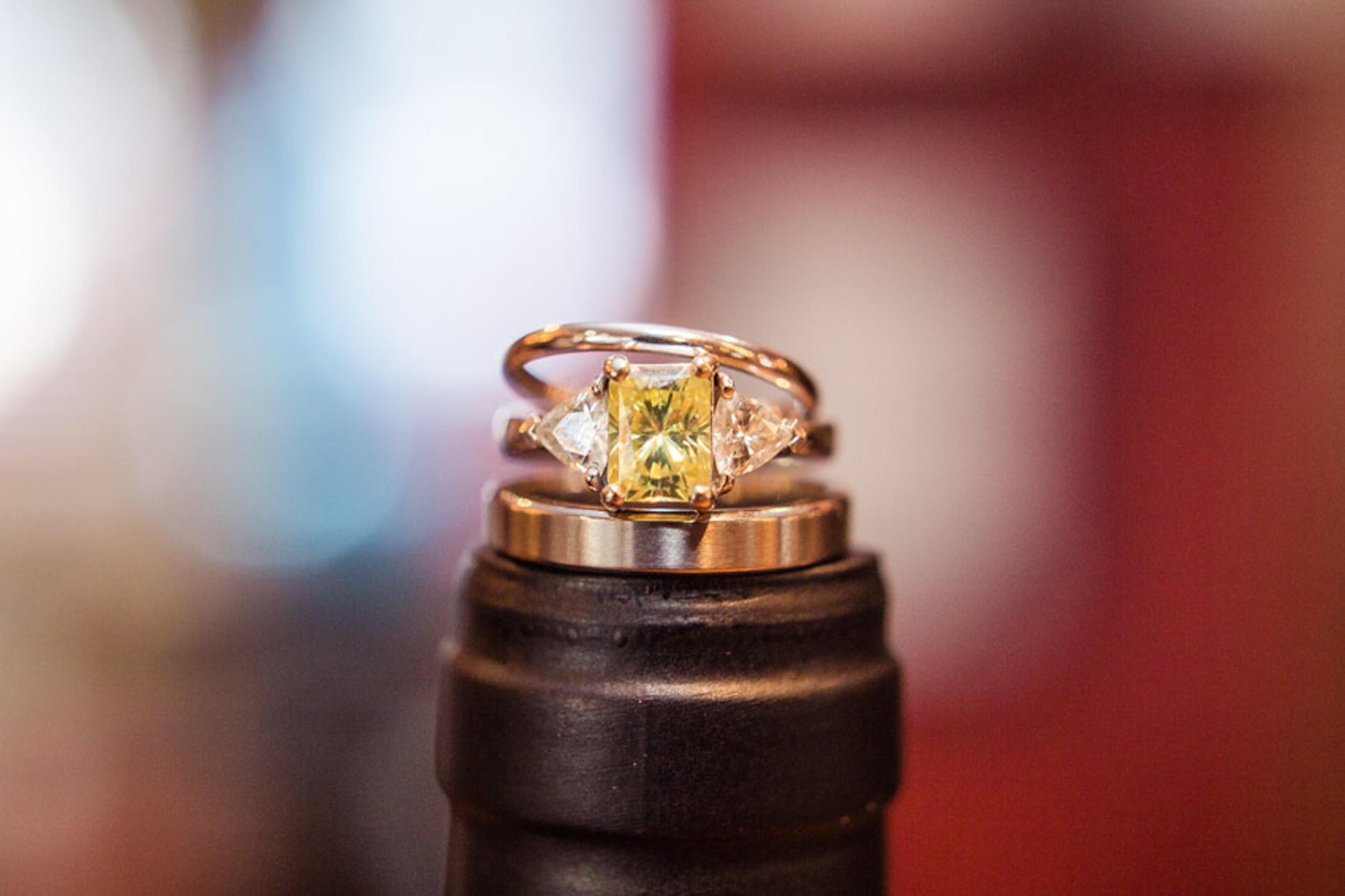 Sapphire Emerald Cut Wedding Ring