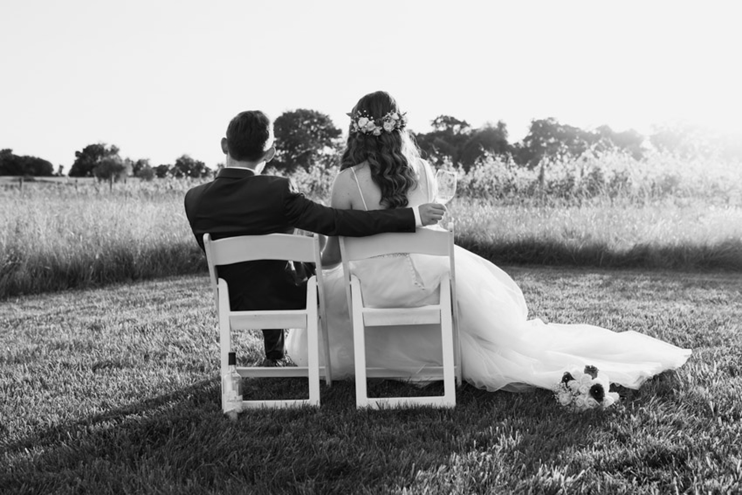 Winery Sunset Bride and Groom