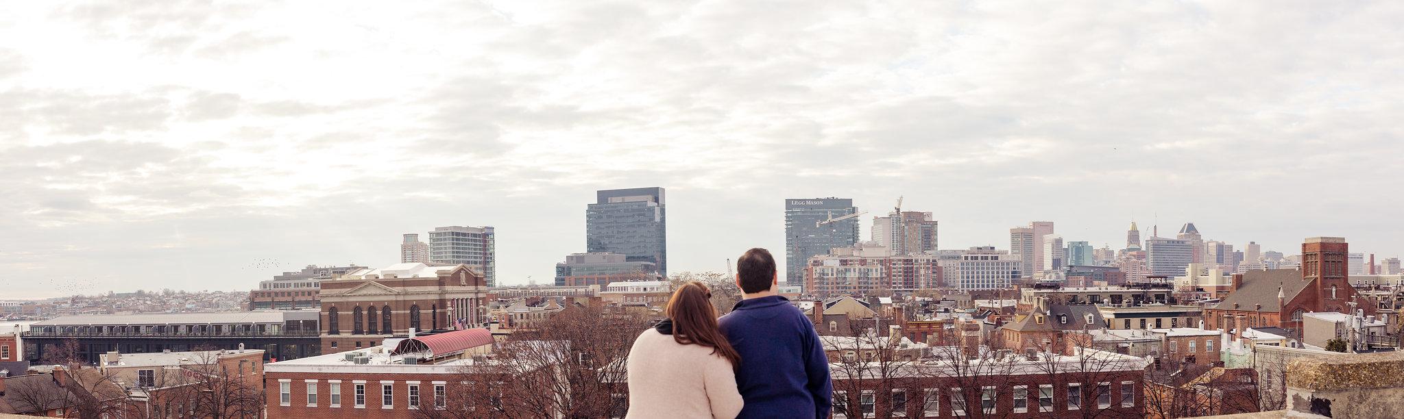 Baltimore Skyline Engagement Panorama