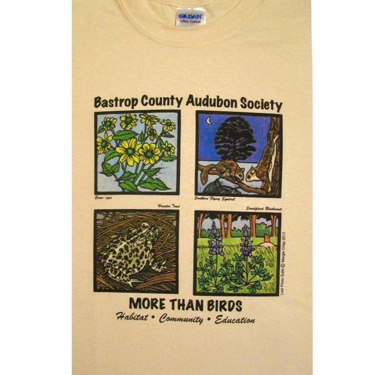 The shirts are cream-colored 100% cotton.Available in M, L, and XL.