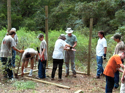 Building a wildlife-viewing blind with an Eagle Scout candidate, Bastrop S.P.