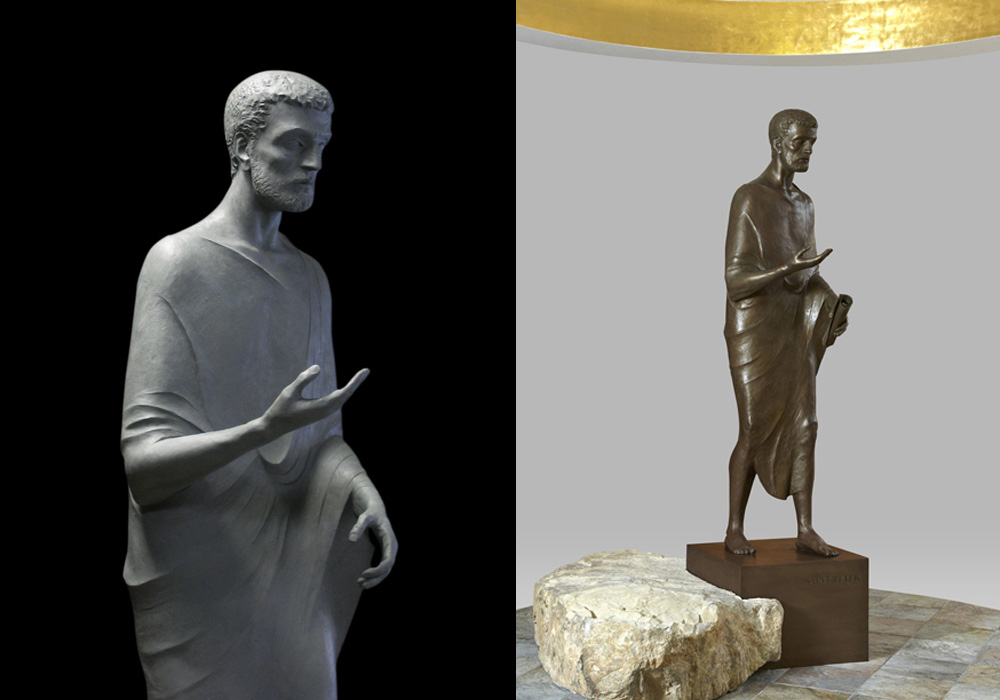 Left: in clay, before casting