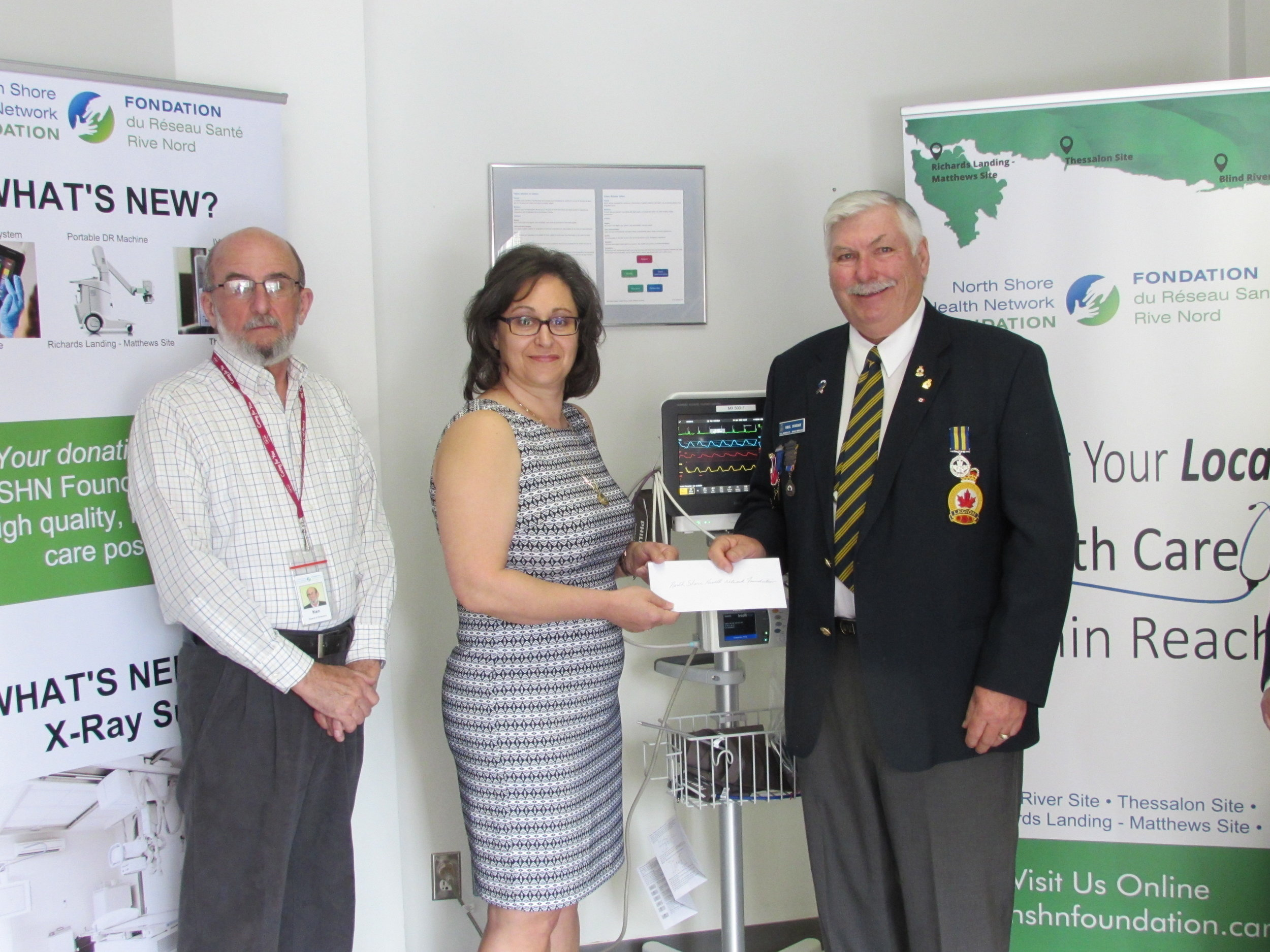 Ken Gibson, Director & Donna Orlando, Chair – NSHN Foundation receive a donation of $1,000 from Neil Duguay - Bruce Mines Legion Branch #211