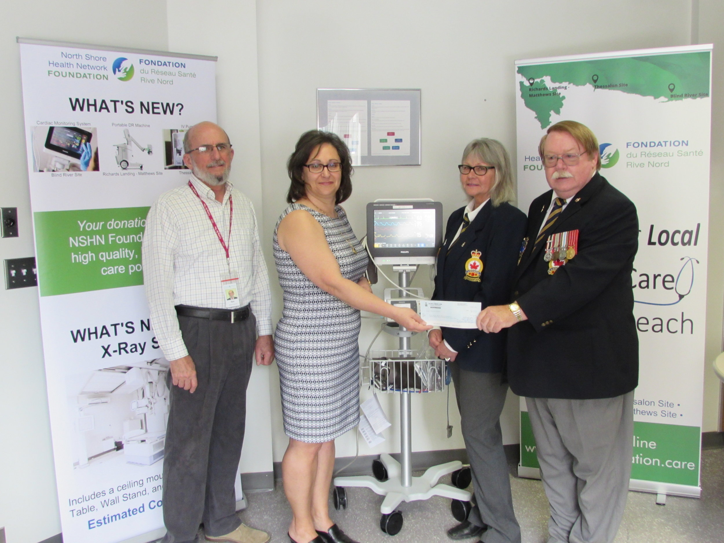 Ken Gibson, Director & Donna Orlando, Chair – NSHN Foundation receive a grant of $8,000 toward a Cardiac Monitoring System for the NSHN – Blind River – Emergency Department. The grant was presented by Gloria Spencer and Gerry Green, President – Blind River Legion Branch #189.
