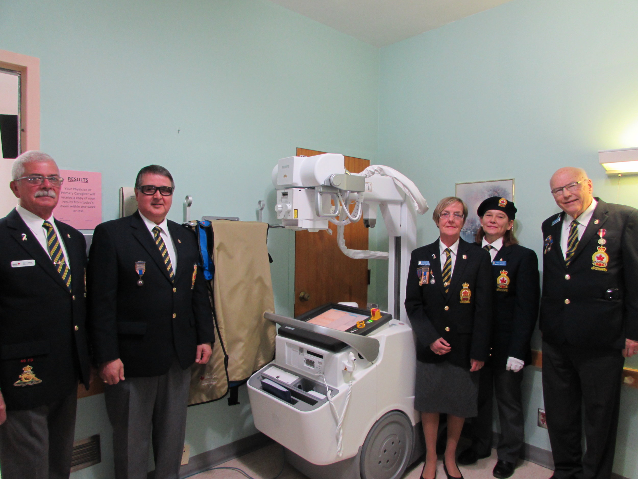 Digital Portable X-ray - $1,000 donation provided toward this equipment from the Richards Landing Legion Branch # 374 Poppy Fund   (Left to right) Steve Frech –District H Commander, John Shannon – Secretary, Gonny Frech – Treasurer, Anne Allaire – Branch President and Hugh Hamilton – Charitable Foundation Chairperson