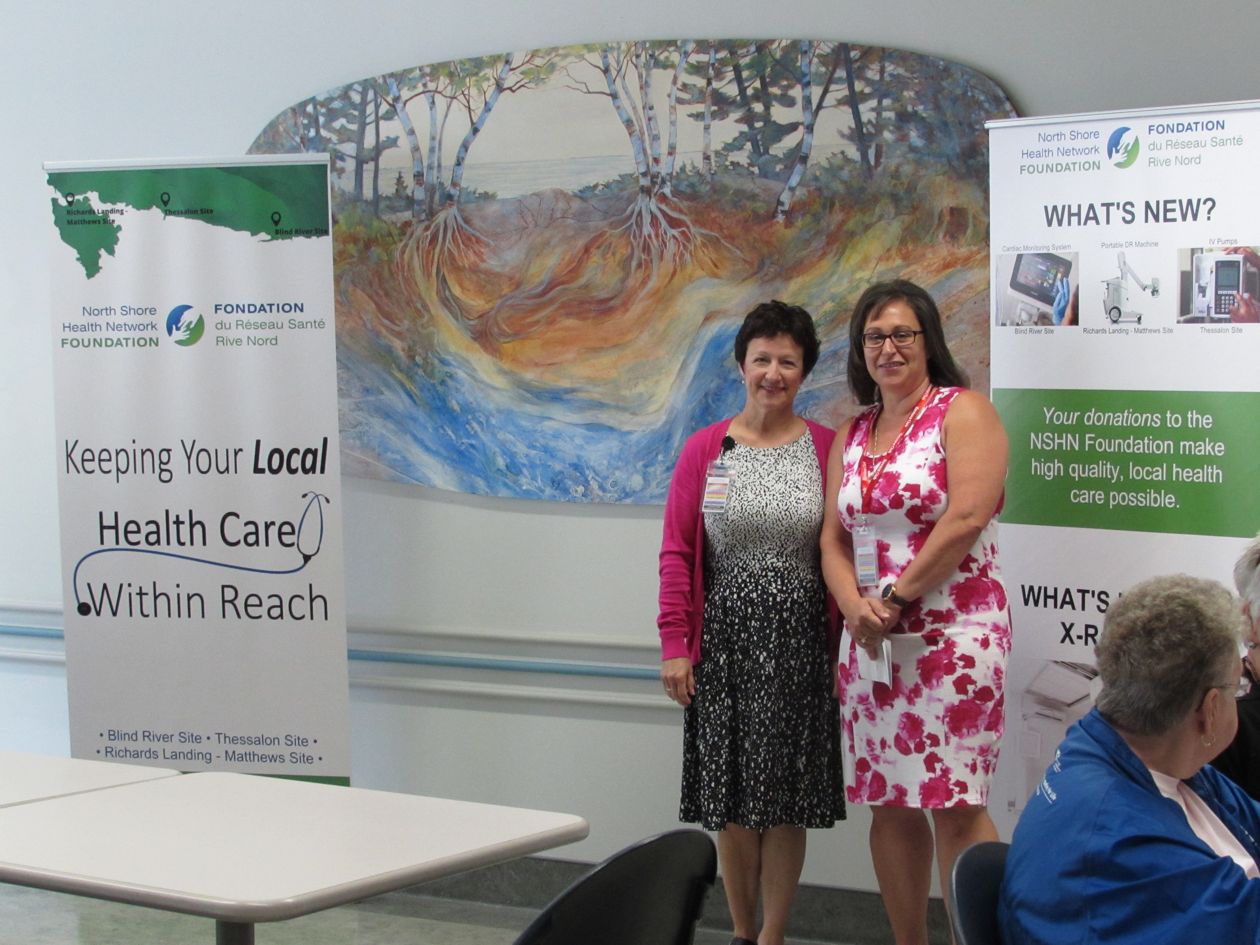 Laurie Kendrick (NSHN Foundation Coordinator) and Donna Orlando (NSHN Foundation Chair) address donors at the NSHN Blind River Site on Sunday, June 24, 2018