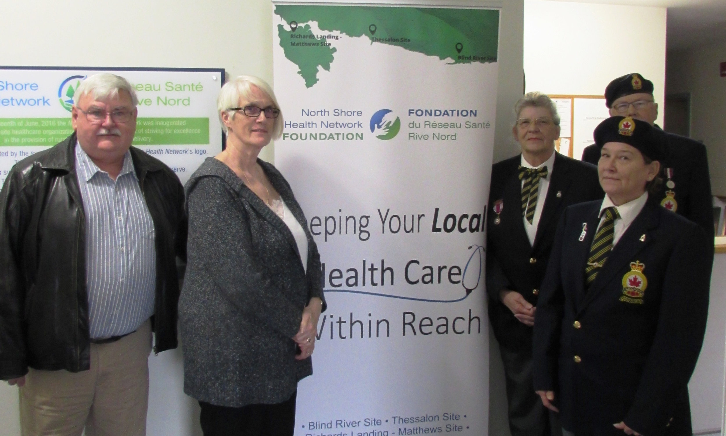 (Left to right) John Fogal (NSHNF Director); Sue Barlow (NSHNF Vice Chair); Sandra Stevens (President – Ladies Auxiliary); Hugh Hamilton (Charitable Foundation Chairperson); Anne Allaire (Branch President).