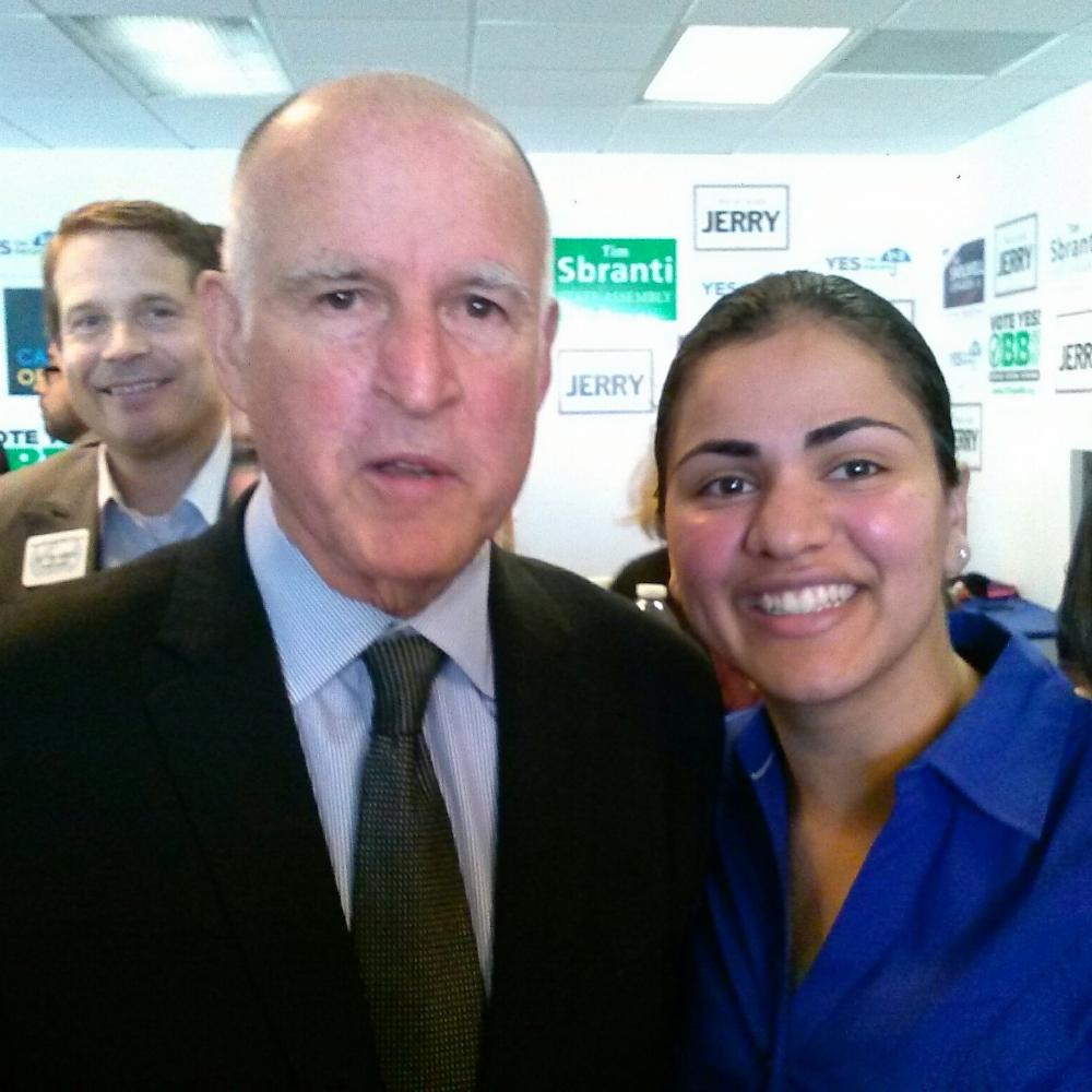 Jerry Brown and Aisha Wahab