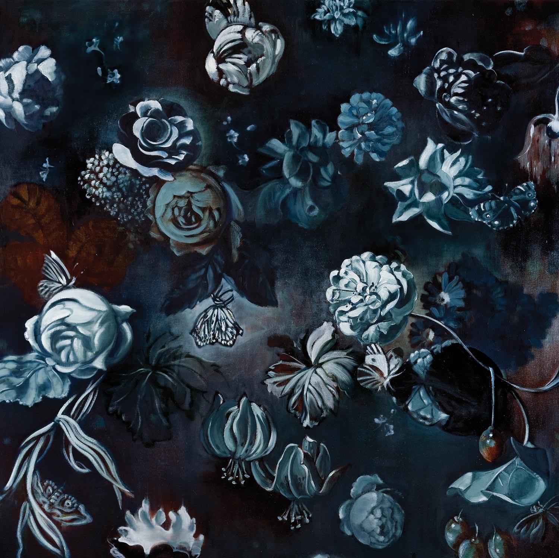 "MIDNIGHT FLOWERS I  oil on canvas 45 x 45"" 2011"