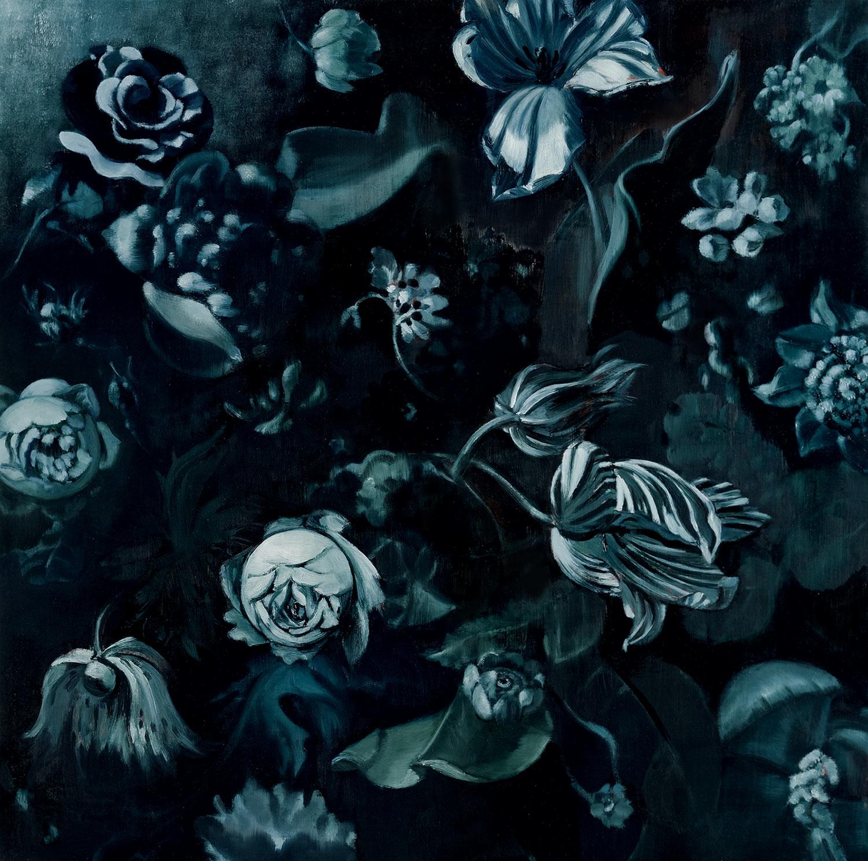 "MIDNIGHT FLOWERS II  oil on panel  30 x 30""  2011"