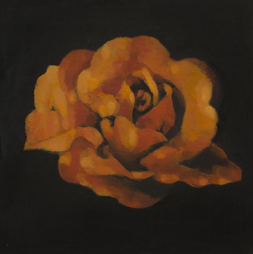 "ROSE IN THE DARK  oil on panel  10 x 10""  2016"