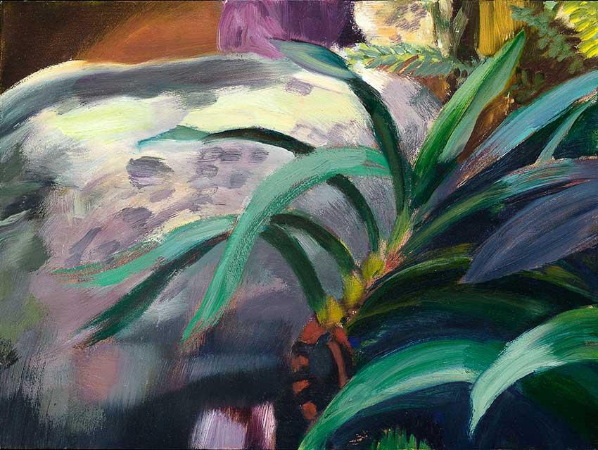 """GARDEN ROCK  oil on panel  9 x 12""""  2018  Andra Norris Gallery, Burlingame, CA"""