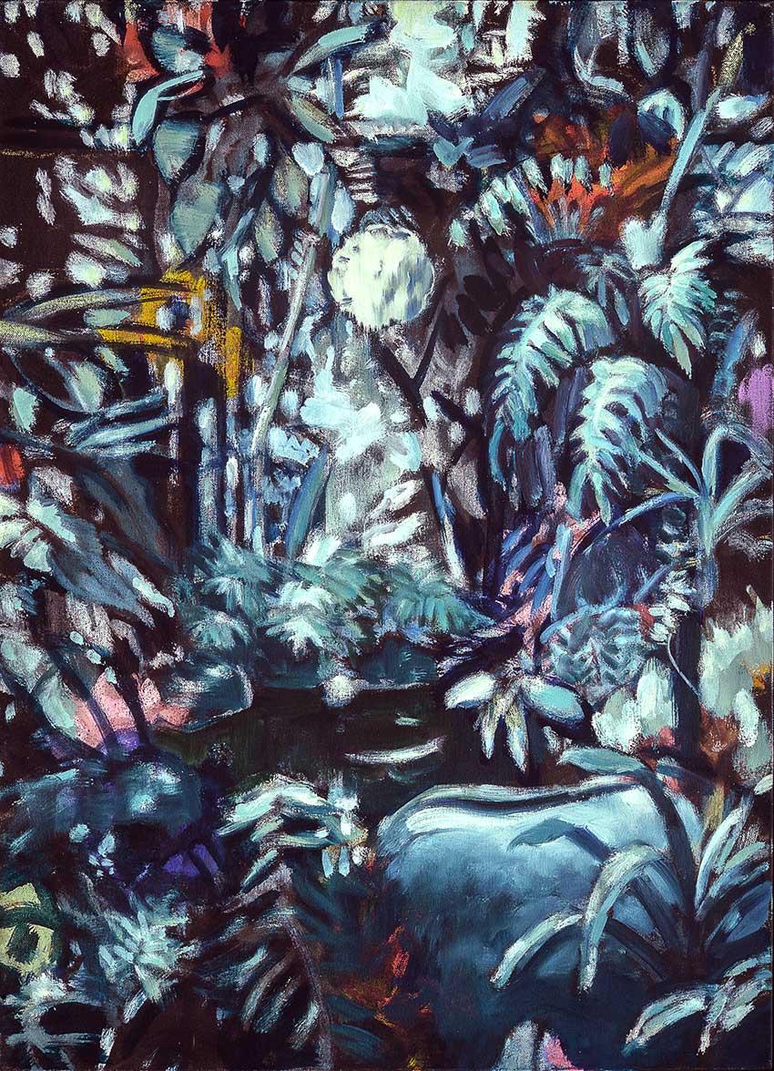 "MIDNIGHT GARDEN II  oil on canvas  25 x 18""  2019  Andra Norris Gallery, Burlingame, CA"