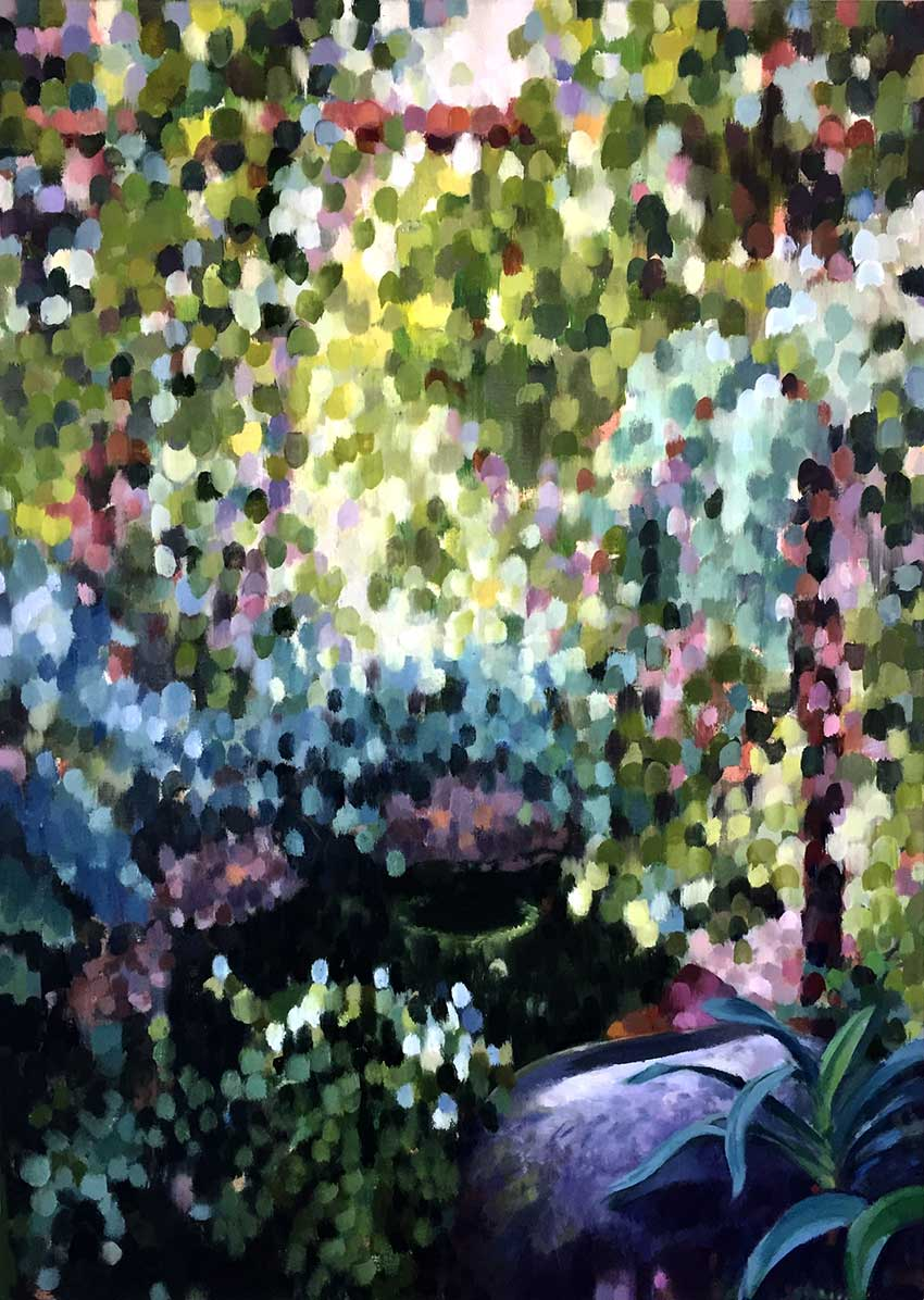"DAPPLED GARDEN I  oil on canvas  30 x 30""  2019  Andra Norris Gallery, Burlingame, CA"