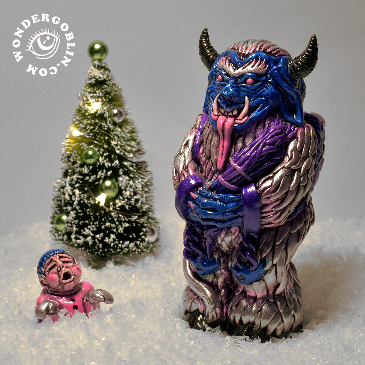 """Are you still searching for the perfect Yule, Xmas, or Krampusnacht present? Look no further, for the Krampus has come to town, and he doesn't care whether you've been naughty or nice! Cast in solid resin, and each one meticulously hand painted and airbrushed, the Krampus stands at 6 inches tall and comes with a removable brat. Included with every order is a """"Merry Krampus""""   greeting card and a handful of Xmas candy. Limited edition of 35."""
