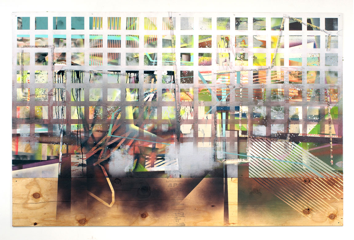 PAINTING NO. 2    mixed media on plywood, 62 x 96 inches, 2011