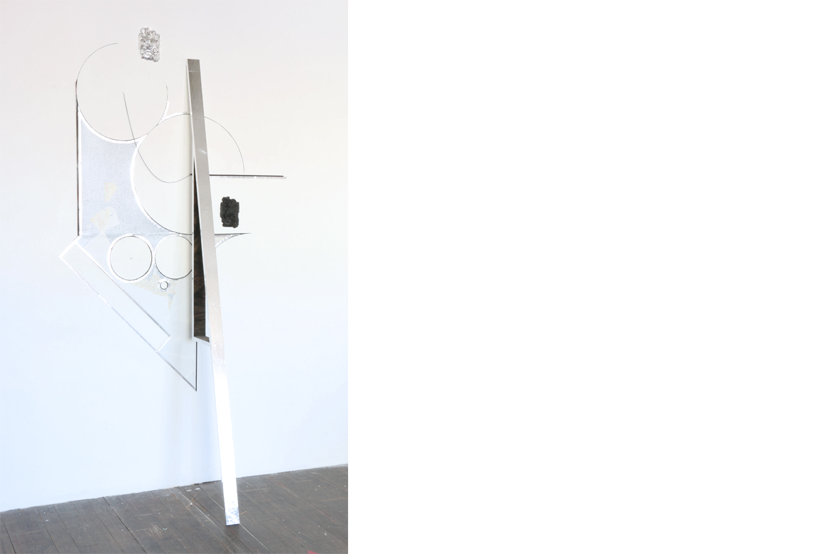 reverberation no. 1    found material, contact paper, linoleum, cast plaster, enamel, elctrical tape, nails | 90 x 46 x 21 inches | 2016