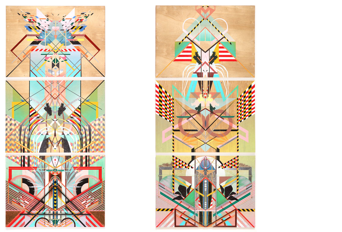 ACCUMULATION AT 12TH & MARION: PAINTINGS 1-3   (left)    ACCUMULATION AT 12TH & MARION: PAINTINGS 4-6   (right)  mixed media on panel, 74 x 32 3/4 inches each triptych (23 3/4 x 32 3/4 inches each panel), 2015
