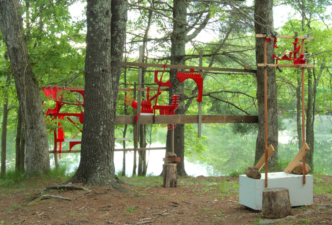 Virtual Subsumption with Converse Material Effect    Site-specific mixed media installation produced for a stop-motion video for the 2017 I-Park Site-Responsive Biennale (East Haddam, CT), 12 x 20 x 70 ft, June 2017