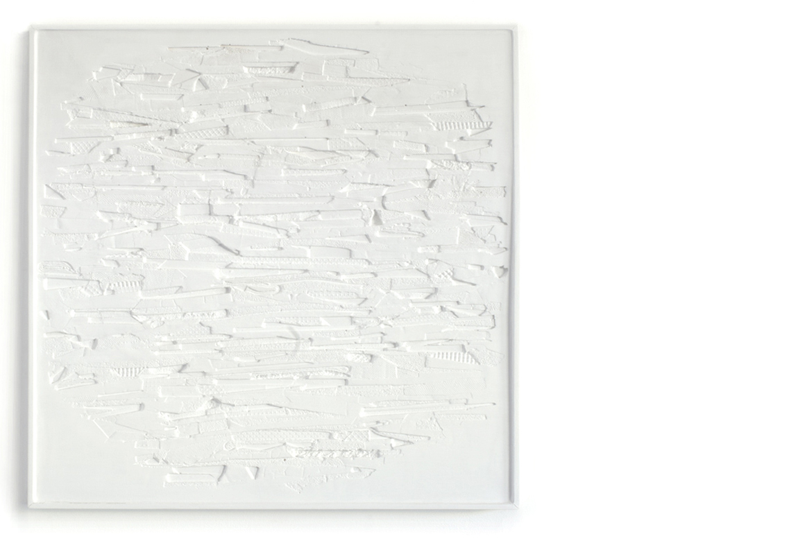 plaster and plastics no. 1    plaster, wood, and gouache | 22 1/2 x 22 3/4 x 1 1/2 inches | 2017