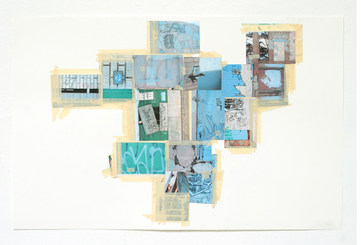 STUDY FOR RECONSTRUCTING MICHIGAN AVE BETWEEN 25TH & 26TH    photo collage and tape on paper, 25 3/4 x 40 inches, 2011