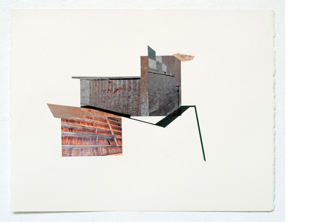 STRUCTURAL STUDY NO. 1    photo collage, acrylic and tape on paper, 20 x 26 inches, 2011