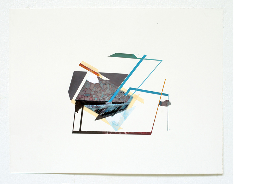 STRUCTURAL STUDY NO. 2    photo collage, acrylic and tape on paper, 20 x 26 inches, 2011