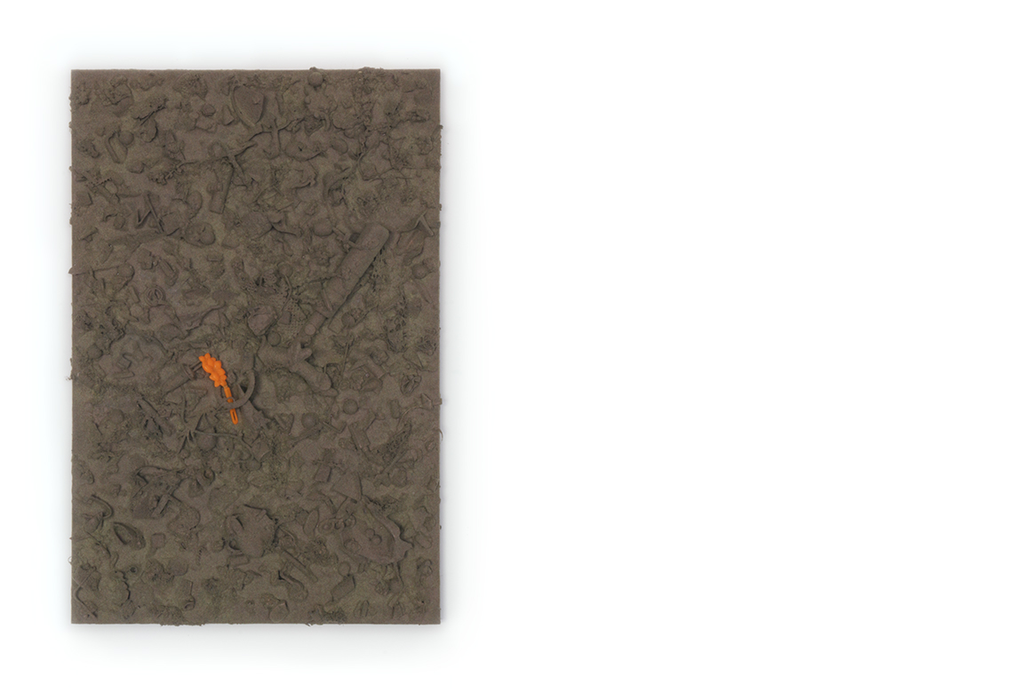 refuse aggregate in garden gate hue    too many things to name, flocked on a panel | 24 x 16 x 3 inches | 2019