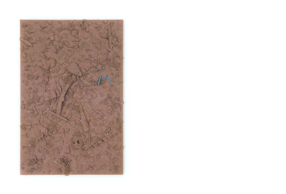 crap aggregate in reddened earth hue    too many things to name, flocked on a panel | 24 x 16 x 3 inches | 2019