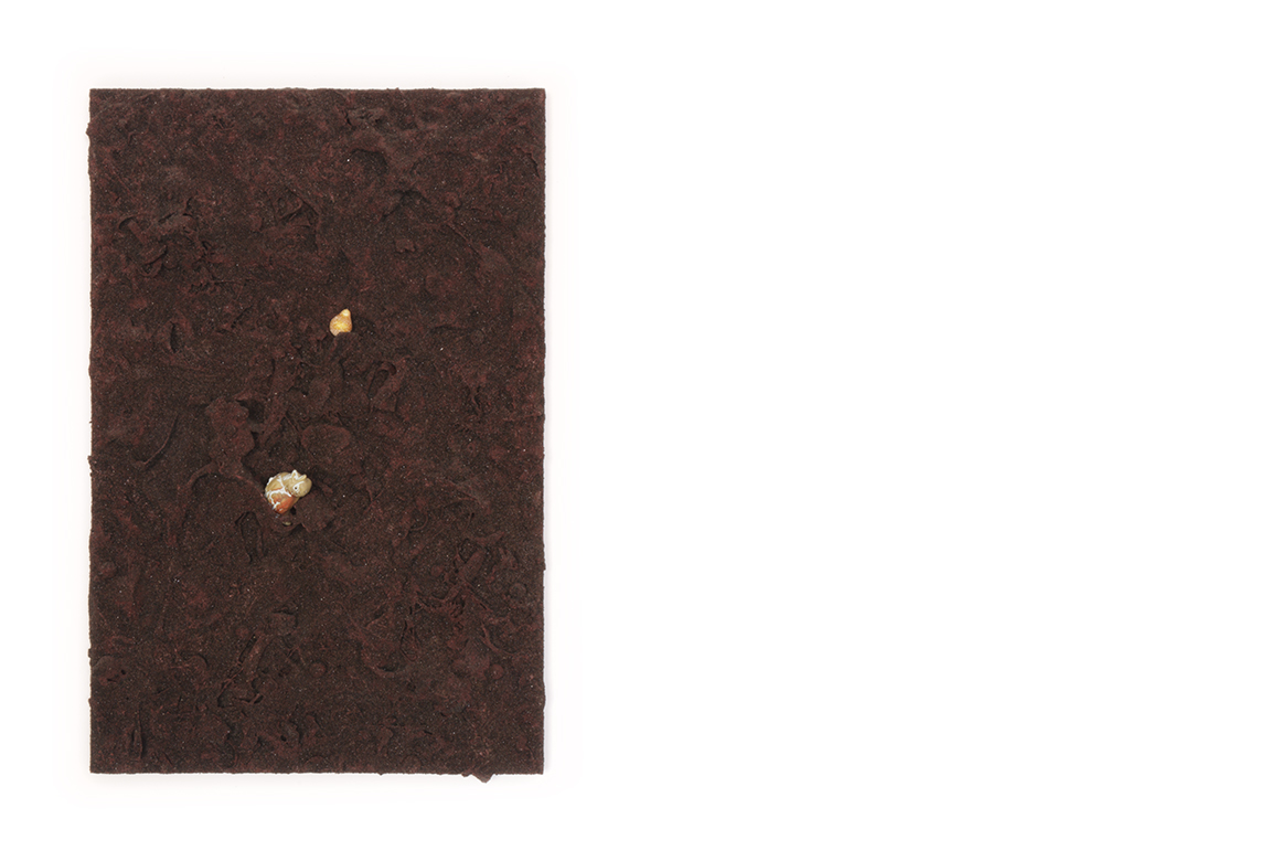 crap aggregate as cinder cone    too many things to name, painted then covered with sand on a panel | 24 x 16 x 3 inches | 2019