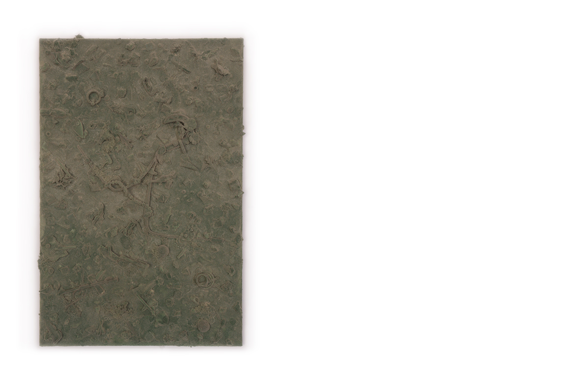 refuse aggregate in artichoke hue    too many things to name, flocked on a panel | 24 x 16 x 3 inches | 2019