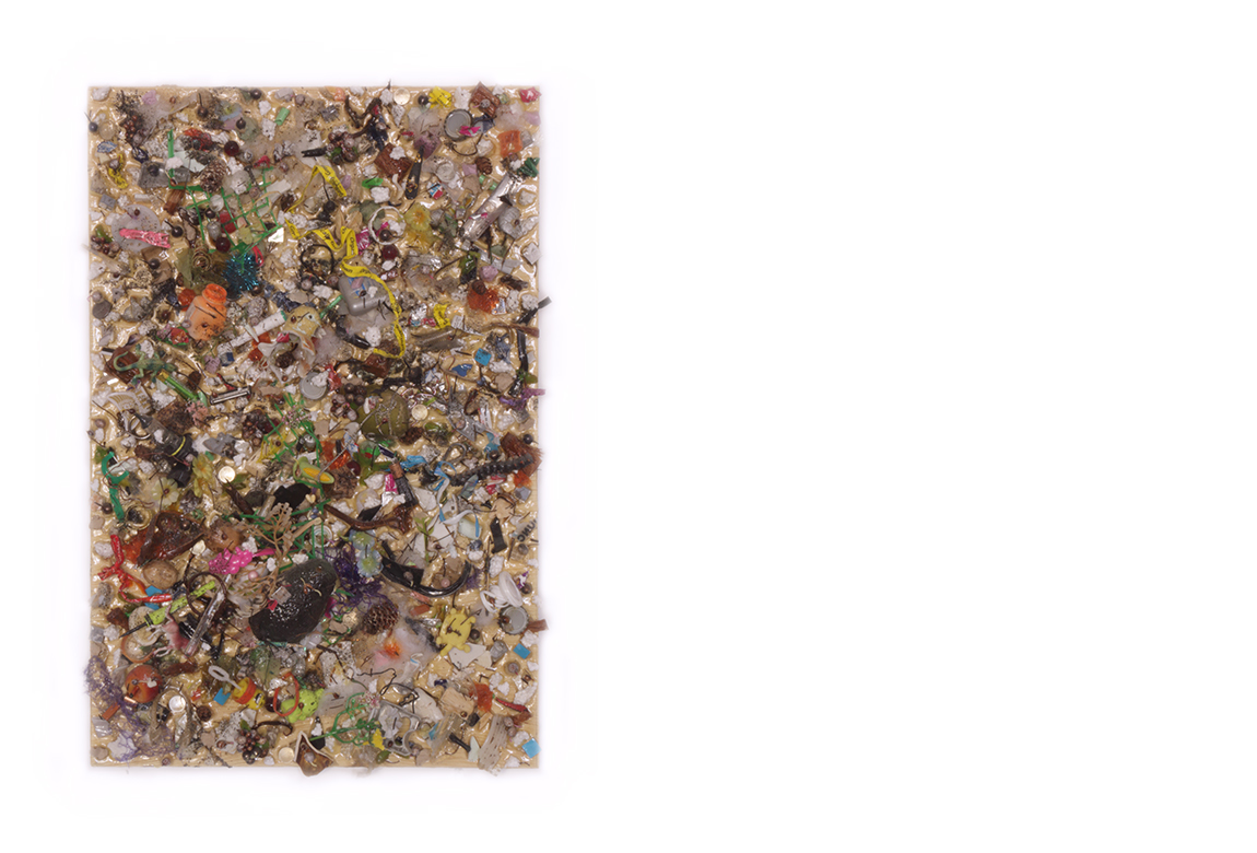 crap aggregate in the raw    too many things to name with acrylic medium on panel | 24 x 16 x 3 inches | 2019