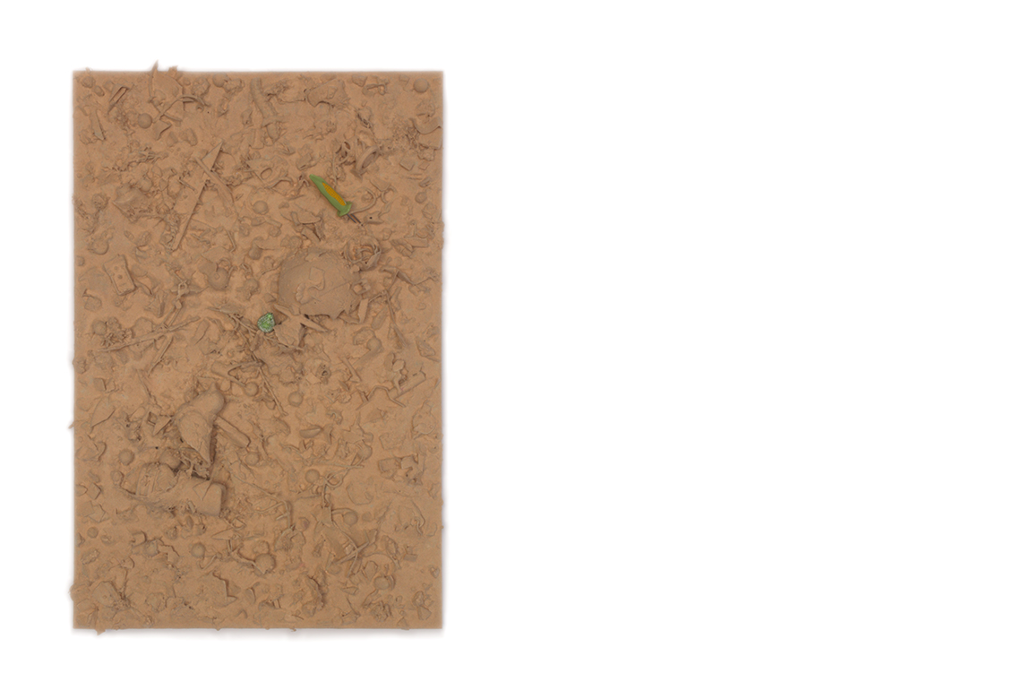 refuse aggregate in windswept canyon hue    too many things to name, flocked on a panel | 24 x 16 x 3 inches | 2019