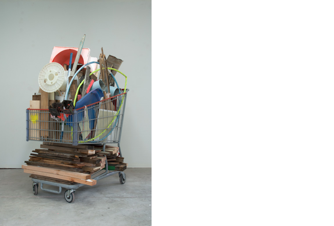 3452 BEETHOVEN GARAGE: DECONSTRUCTED IN GROCERY CART    mixed media, 68 x 38 x 55 inches, 2013
