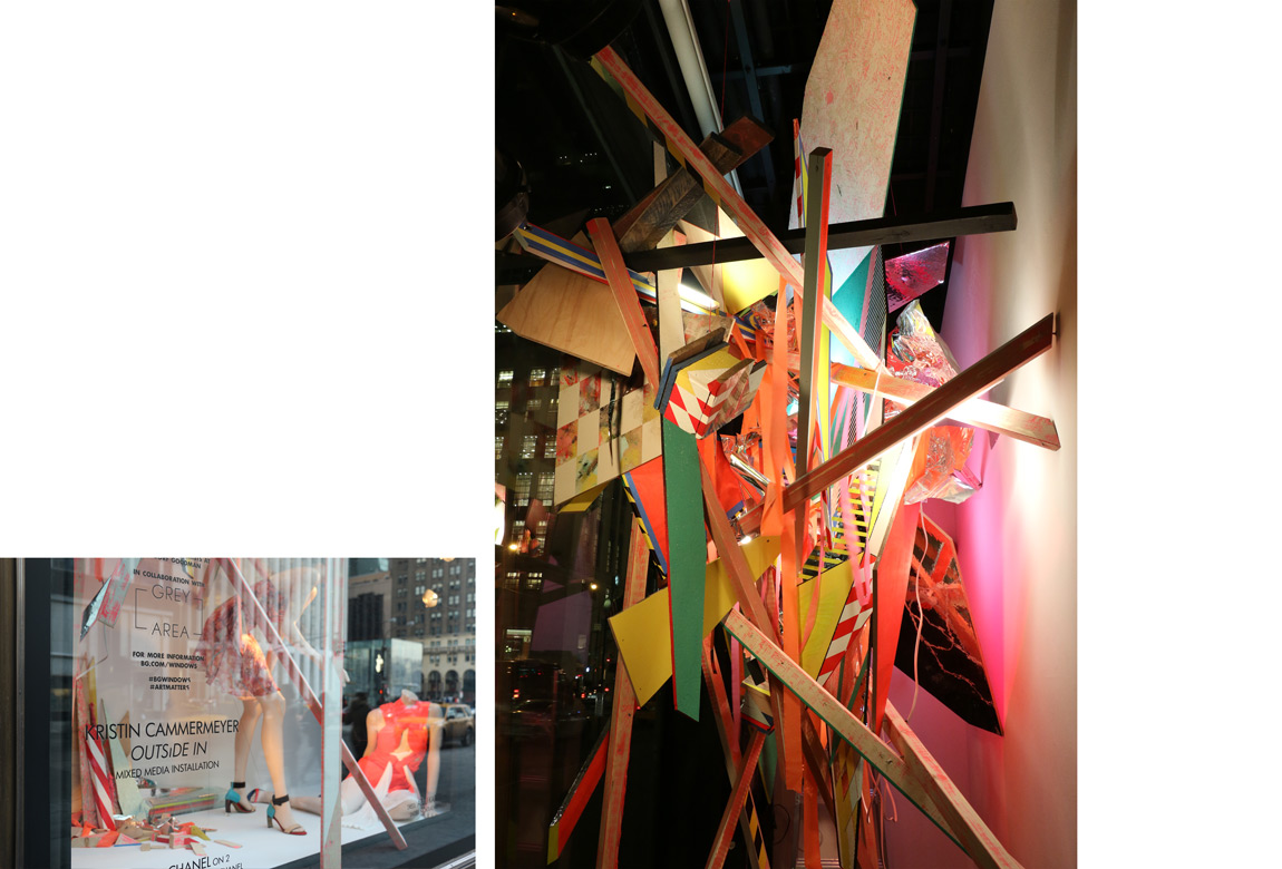 OUTSIDE IN: BERGDORF GOODMAN 5TH AVE WINDOW INSTALLATION    site-specific mixed media installation, 150 x 105 x 56 1/2 inches, 2014