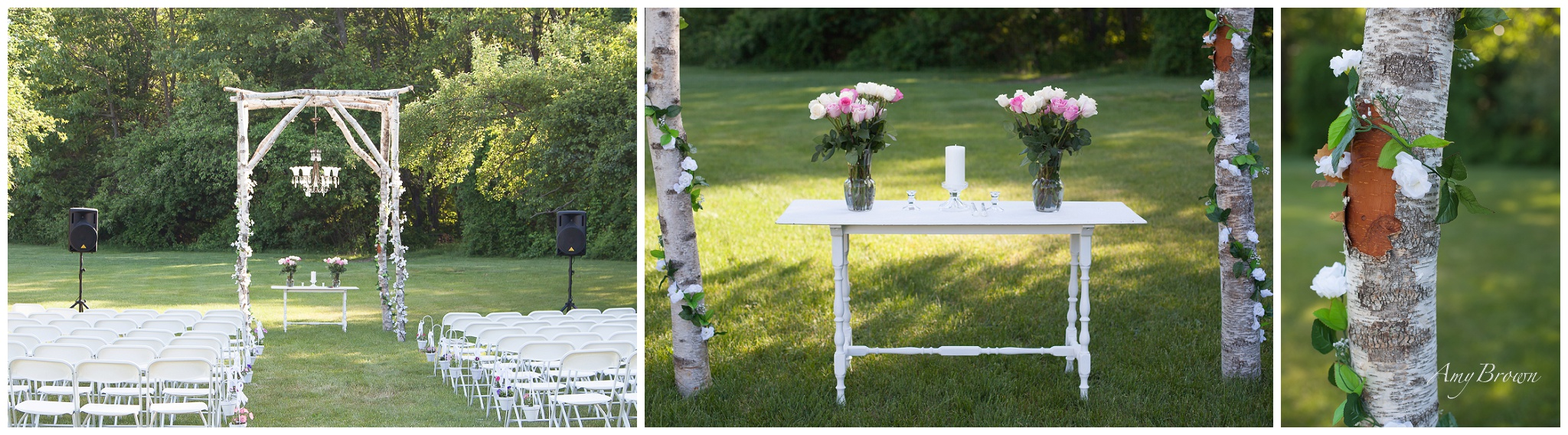 NH Wedding Photographer | DIY Birch tree decor | Amy Brown Photography