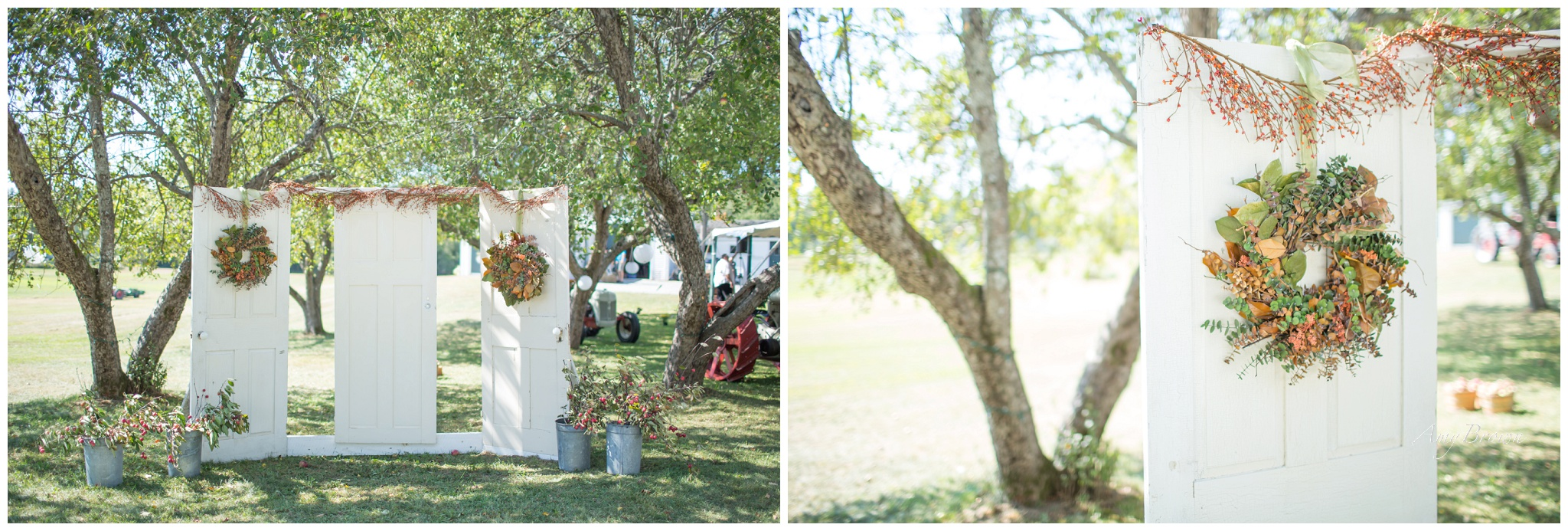 Seacoast NH Wedding Photographer |  NH Farm Wedding | Door Wedding Altar | DIY Wedding Altar | Amy Brown Photography