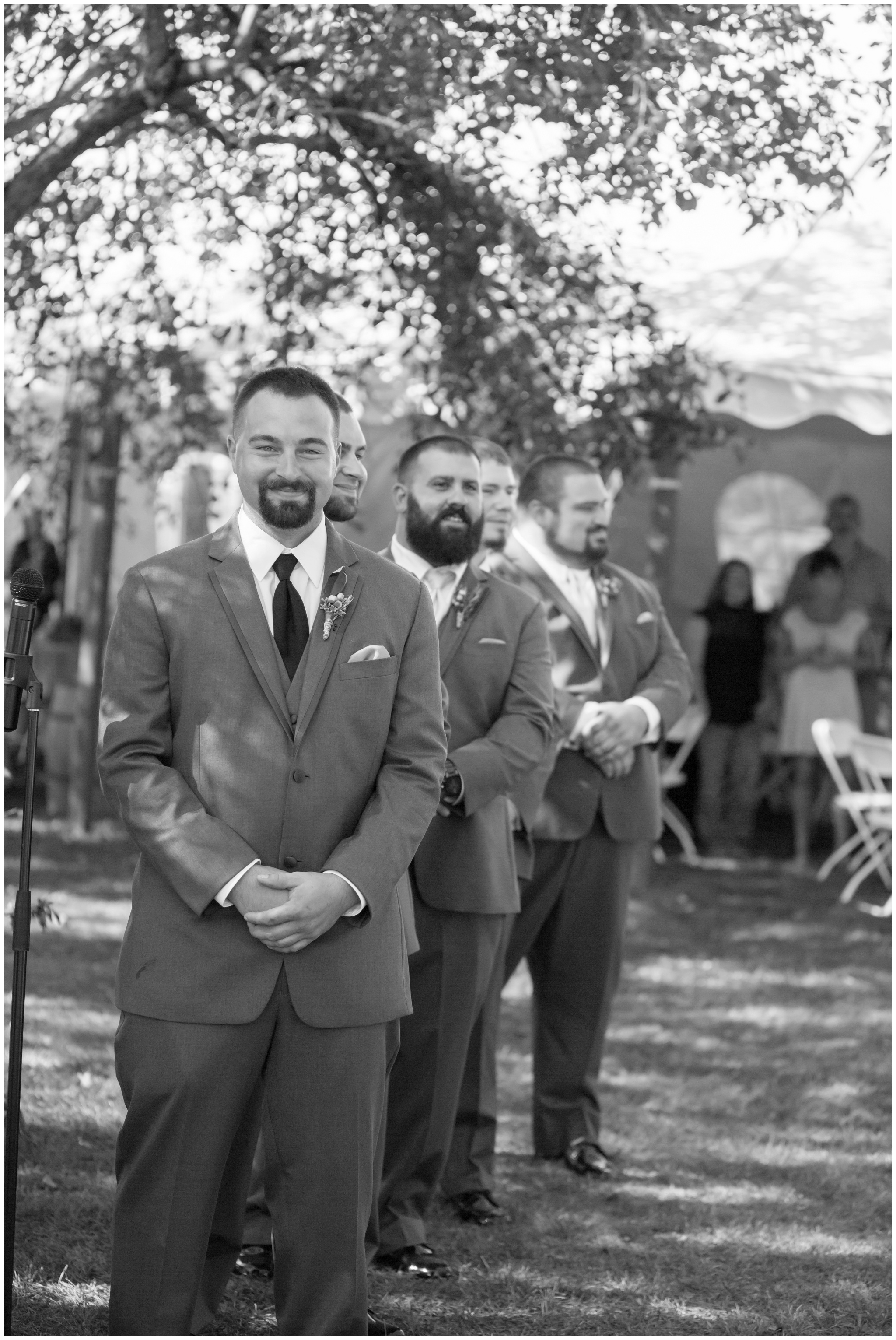 Seacoast NH Wedding Photographer |  Groom first look | nh Apple Orchard Wedding | Amy Brown Photography