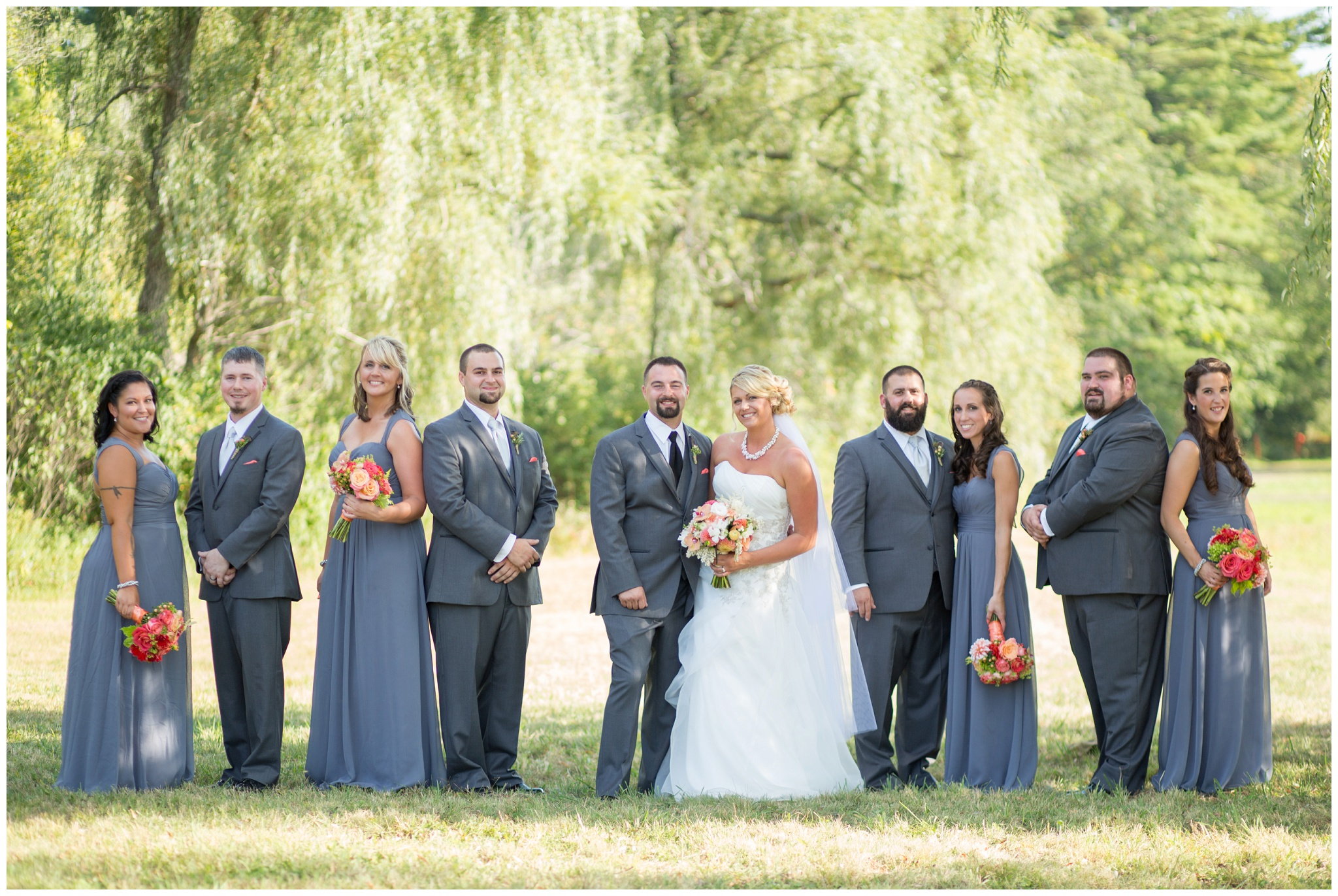 Seacoast NH Wedding Photographer |  | Grey and Pink Wedding scheme | Bridal Party Photos At NH Farm | Amy Brown Photography