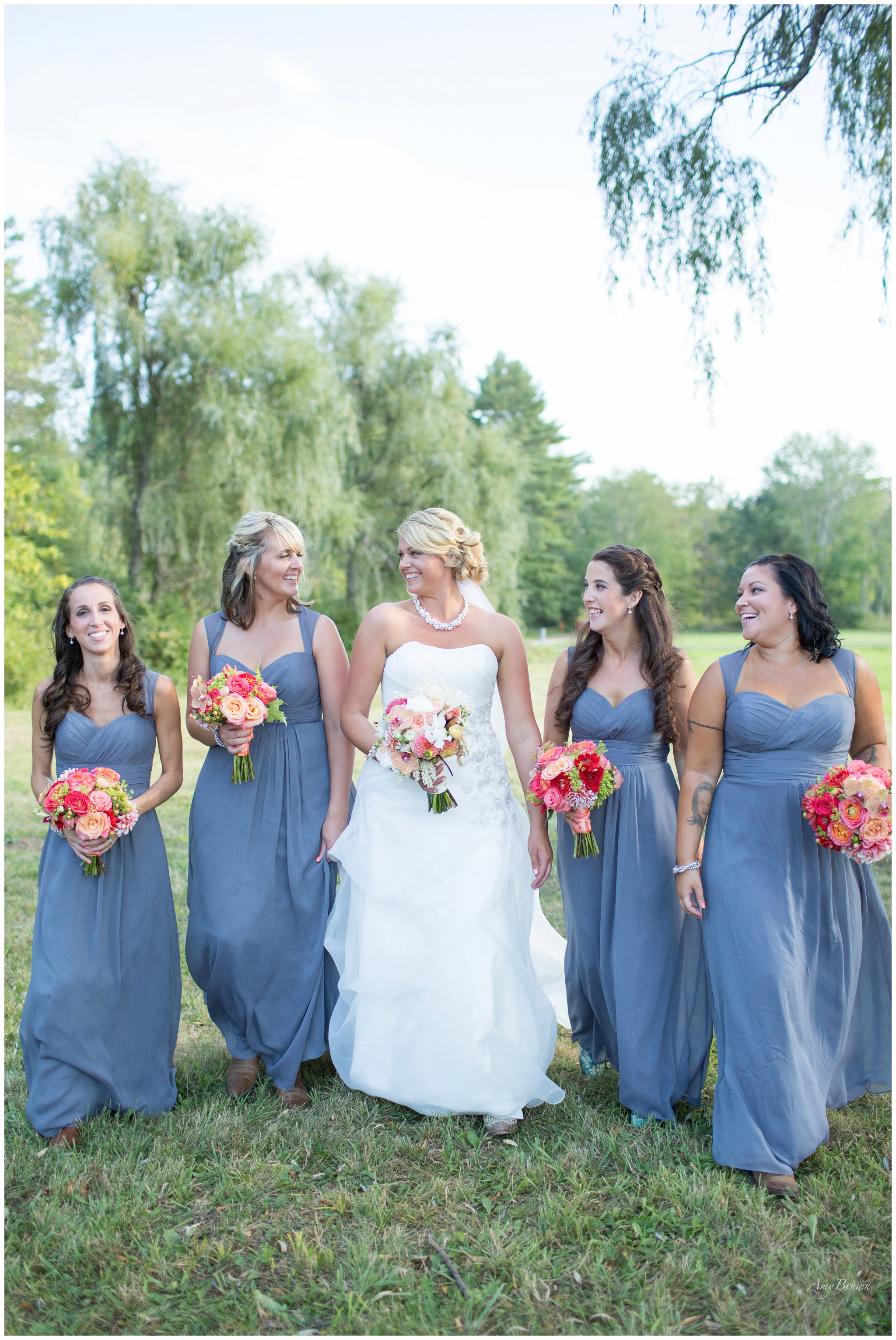 Seacoast NH Wedding Photographer |  grey bridesmaids dresses | Amy Brown Photography