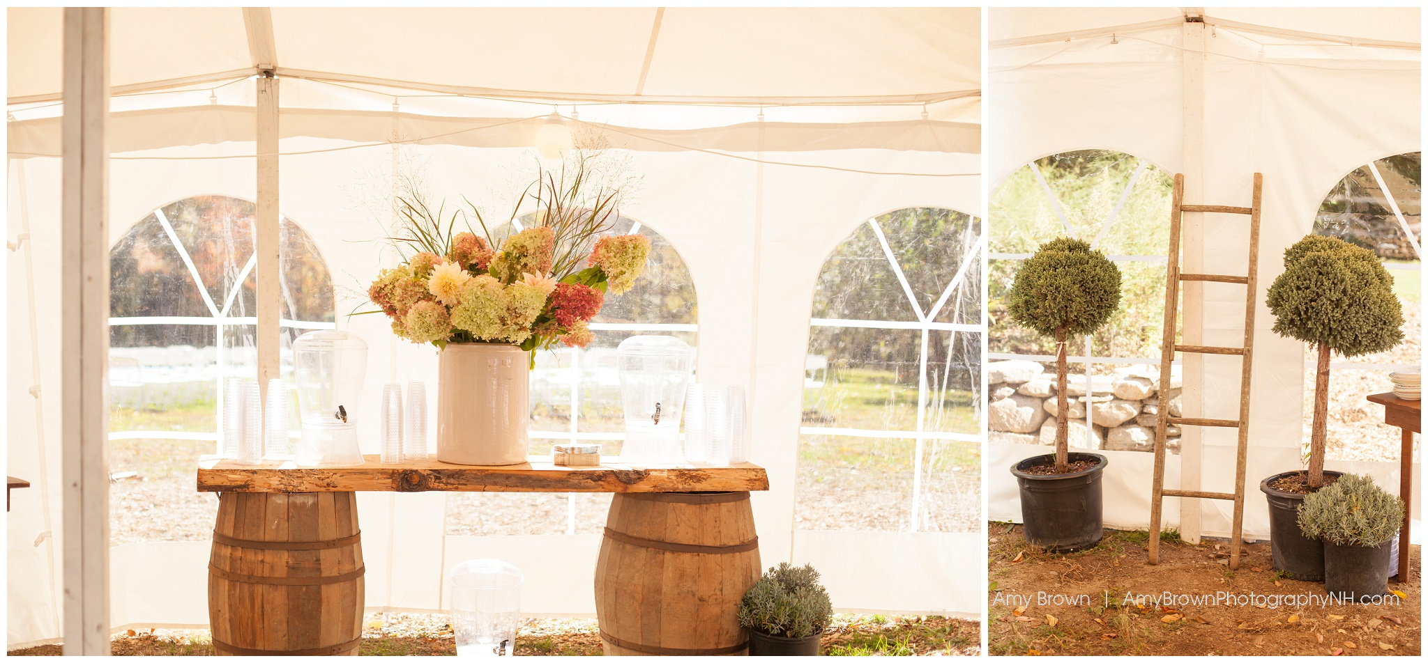 Rye Nh Wedding Photographer | Rye Farm Wedding | Whiskey Barrel Decor | Amy Brown Photography