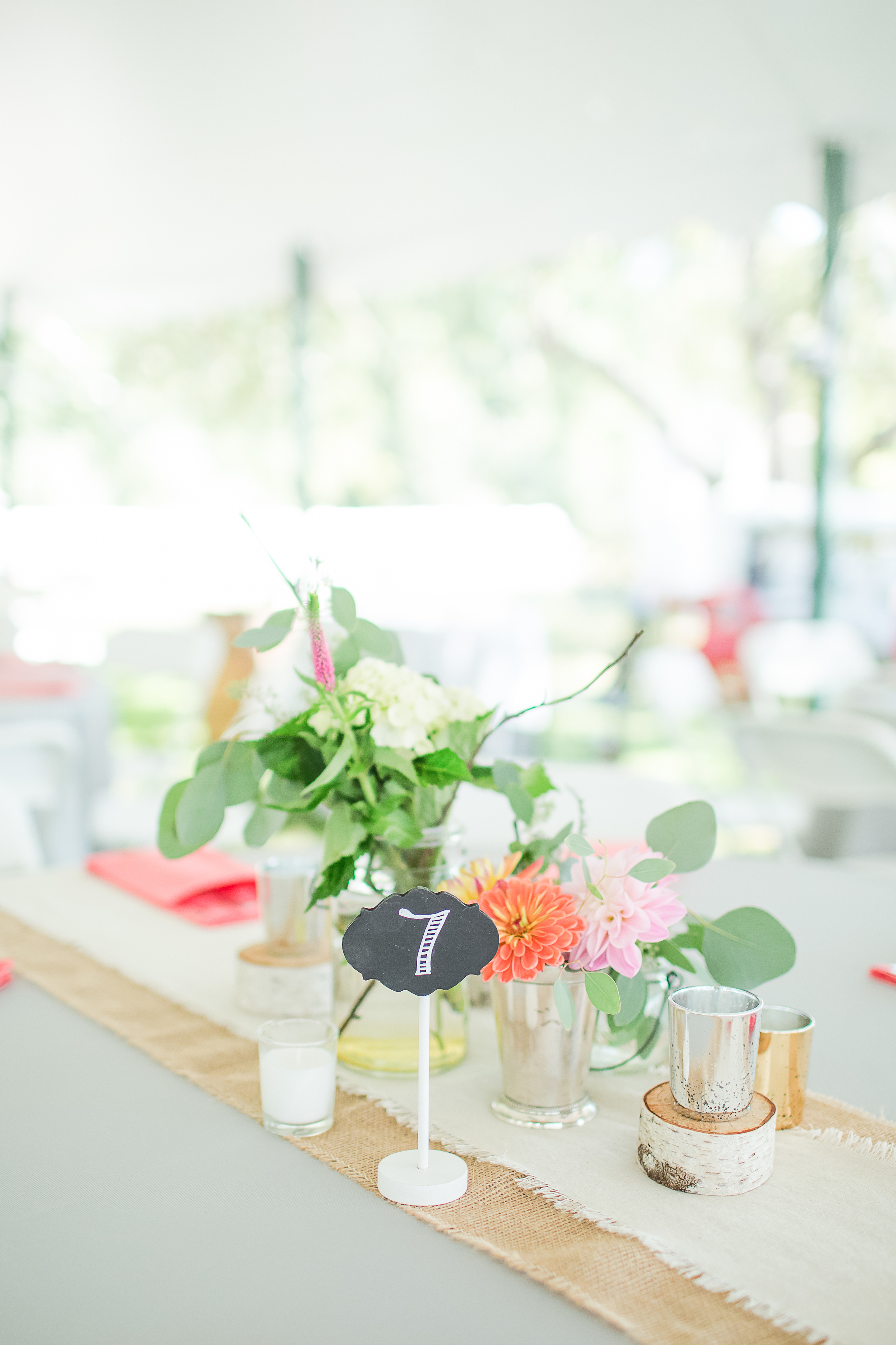 Wildflower Centerpieces | NH Sailcloth Tent Wedding | New Hampshire Farm Wedding | Outdoor Reception | Amy Brown Photography