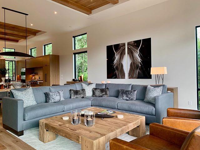 "Our latest install at our Sun Valley project, ""Modern Mountain"" . . . #jodiflemingdesign #customhome #designbuild #interior #interiordesign #modernhomes #contemporaryhomes #houzz #sunvalley #idaho #homedecor #homedesign #greatroom"