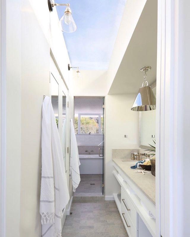 Light & bright master bath with this full sky lighted ceiling! . . . #jodiflemingdesign #masterbathroom #designbuild #customhomes #interior #interiordesign #masterbath #bathroomdesign