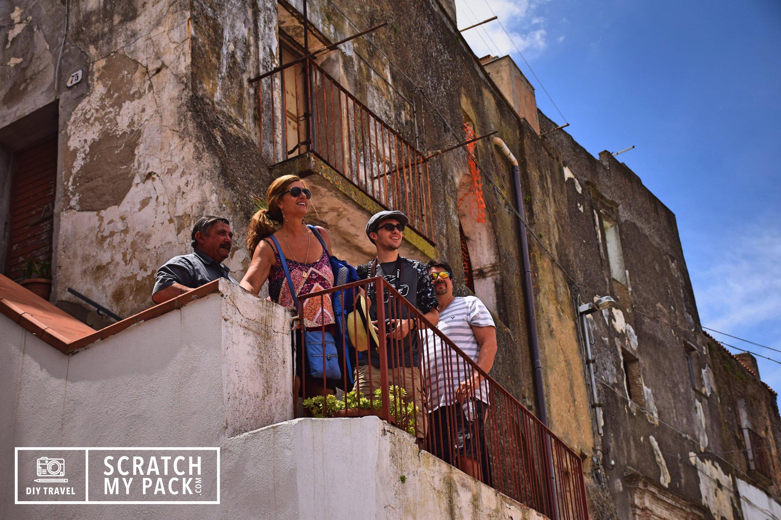 Giuseppe, Lisa, Preston, & David overlooking Pomarico