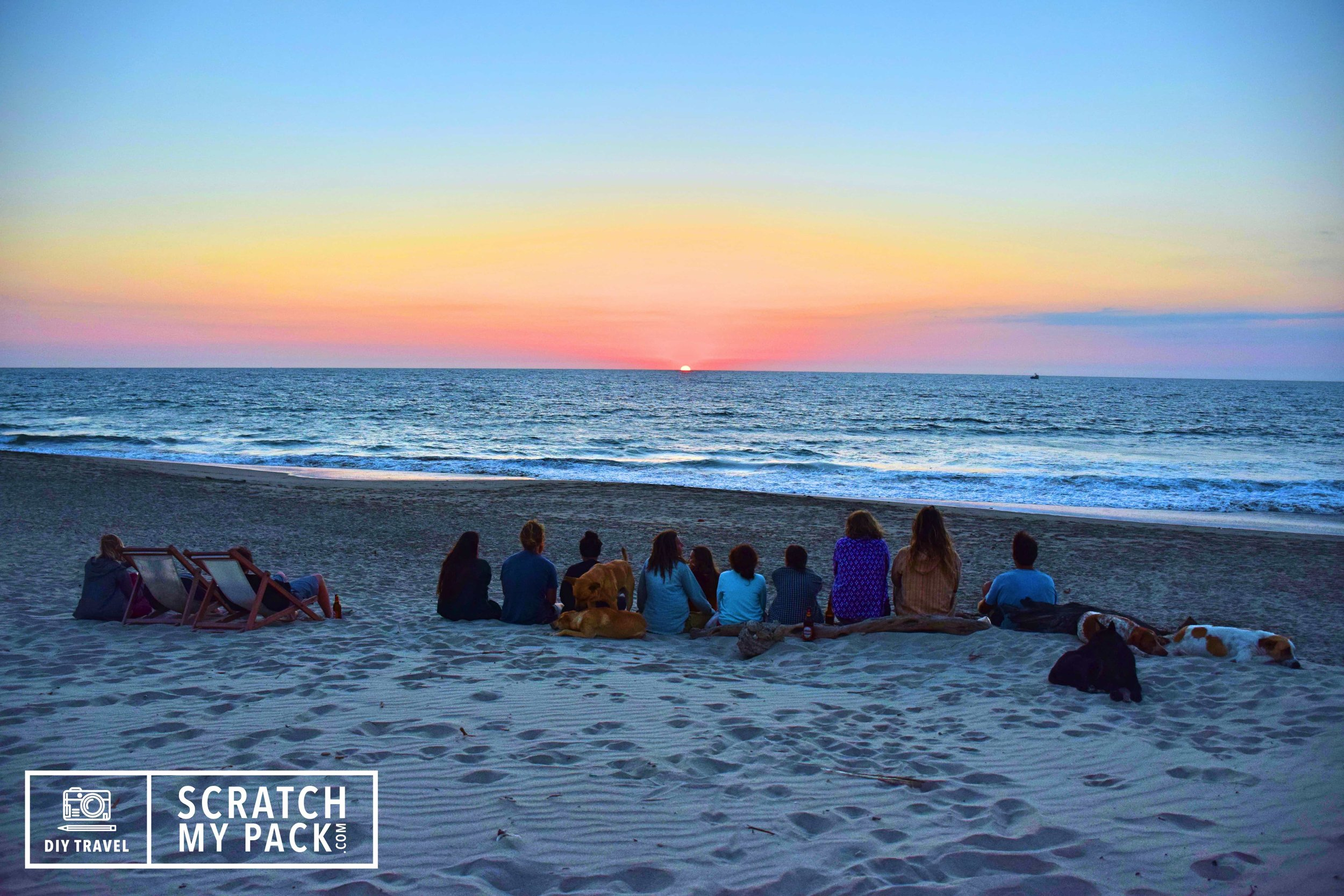Watching the sunset with the entire  hostel