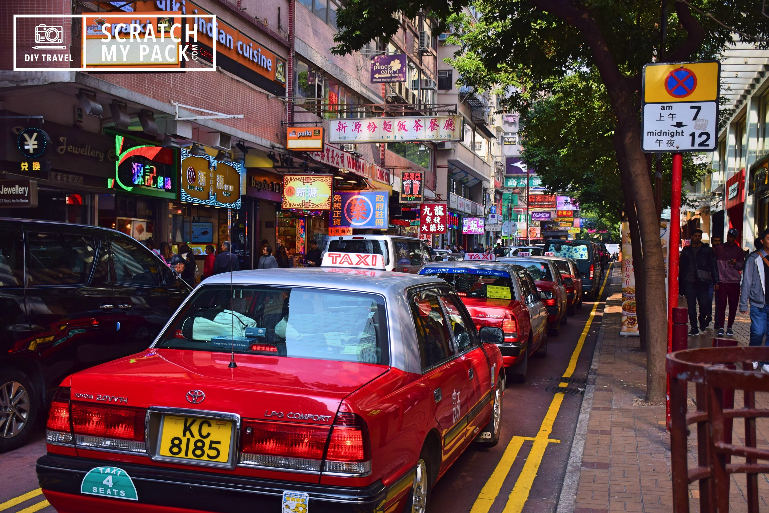 Taxi's  - Fares are charged according to distance traveled and waiting time, measured by a meter on board. There is a starting fare, and there are surcharges for luggage and tolled tunnels and bridges, as well as surcharges for telephone-arranged ordering. There are 3 kinds of taxi's  that operate within Hong Kong. The  Red taxis  have the highest fares among all, and serve all areas of New Territories, Kowloon and Hong Kong Island. The  green taxis , the second most expensive, serve only parts of the New Territories. The  Blue taxis  run in most of Lantau Island. A fare table must be displayed clearly inside the taxi, by law.