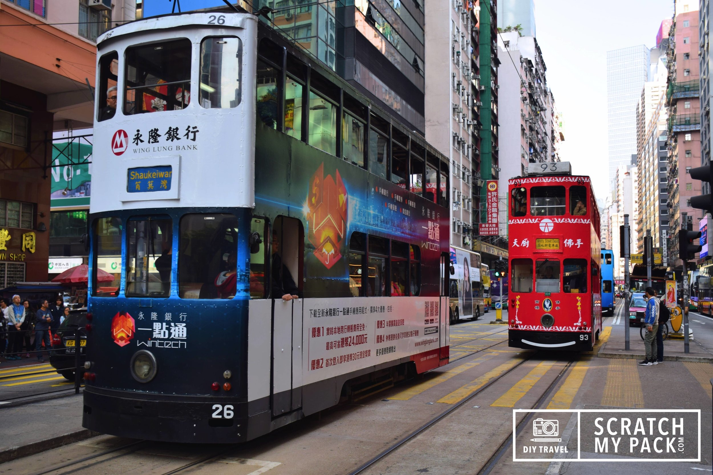 """Tram's  -  Cost: $2.30 -  The tram is the cheapest mode of public transport on the island. The comparatively affordable fare is highlighted by Hong Kong Tramways' advertising slogan: """"Hop on 1. $2.3. Tram so easy!"""" The tram system in Hong Kong and one of the earliest forms of public transport, is also a major tourist attraction and one of the most environmentally friendly ways of travelling in Hong Kong. The trams run on a double track tramline built parallel to the northern coastline. There are 7 tram termini located along the tram line. See the tram routes and more  here . Unlike most other forms of public transport in Hong Kong, fare charged is uniform regardless of the distance traveled. Passengers pay upon exiting by exact fare, or by the Octopus Card."""